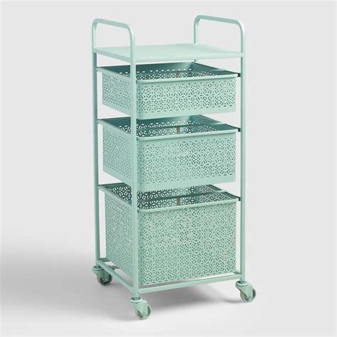 Inexpensive Home Decor Online aqua blue metal 3 drawer mia rolling cart world market