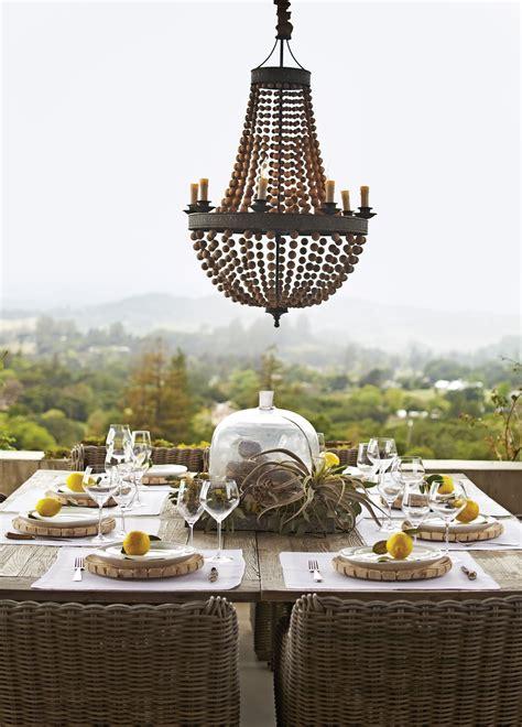 wood bead chandelier pottery barn c home