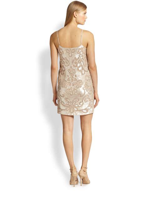 beaded mini dress needle thread sequined beaded mini dress in pink lyst