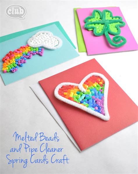 craft card melted bead and pipe cleaner ornament craft club