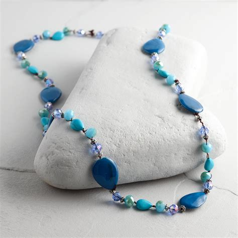 beaded string blue and turquoise beaded string necklace world market