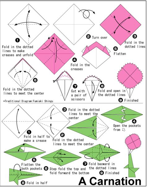 how to do flower origami origami carnation