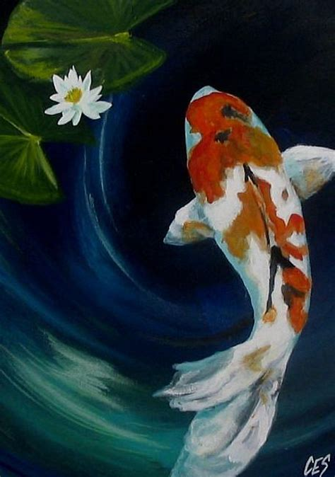acrylic painting water lilies koi and water by christine e s code ces from