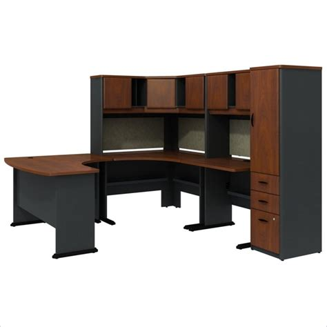 u shaped desk with hutch bush bbf series a hansen cherry u shaped desk with hutch