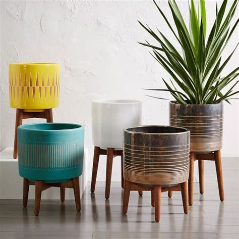 modern ceramic planter colorful midcentury modern style planters from west elm