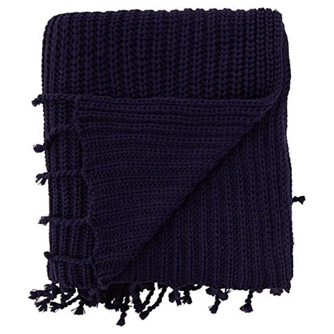 navy knitted throw george home navy knitted throw blankets throws asda
