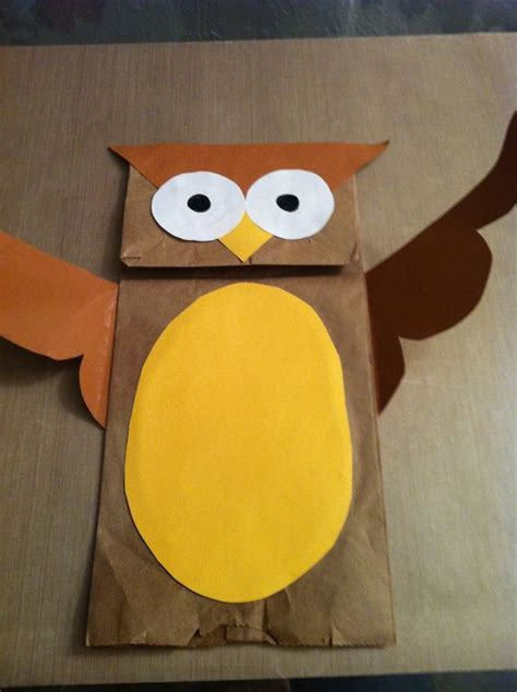 paper bag arts and crafts paper bag owl arts and crafts paper owl