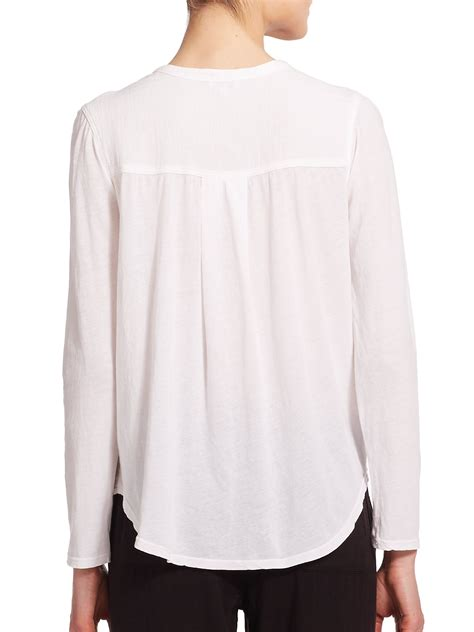 white knit blouse splendid cotton gauze slub knit blouse in white lyst