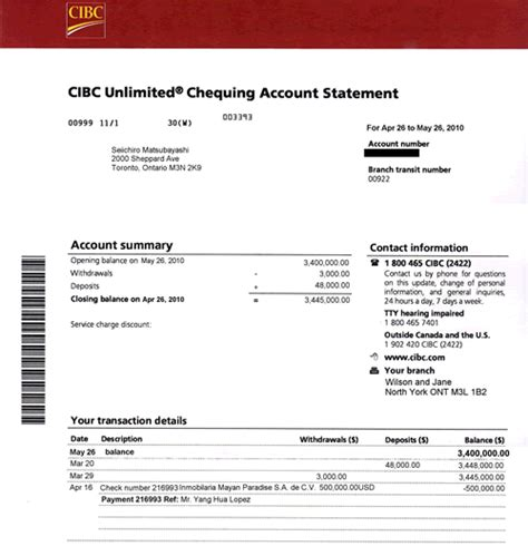 make a credit card statement cibc visa statement template best template collection