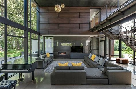 architecture house design industrial modern house boasts a serene lakeside setting in minnesota