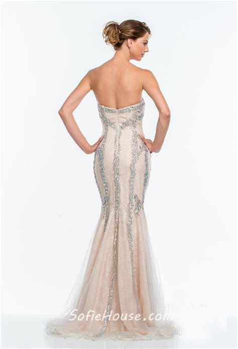 beaded mermaid prom dress gorgeous trumpet mermaid strapless chagne tulle beaded