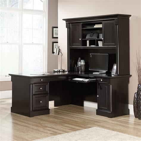 l computer desk with hutch palladia l desk with hutch ps1122 sauder