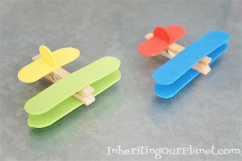 kid crafts airplane clothespin craft inheriting our planet