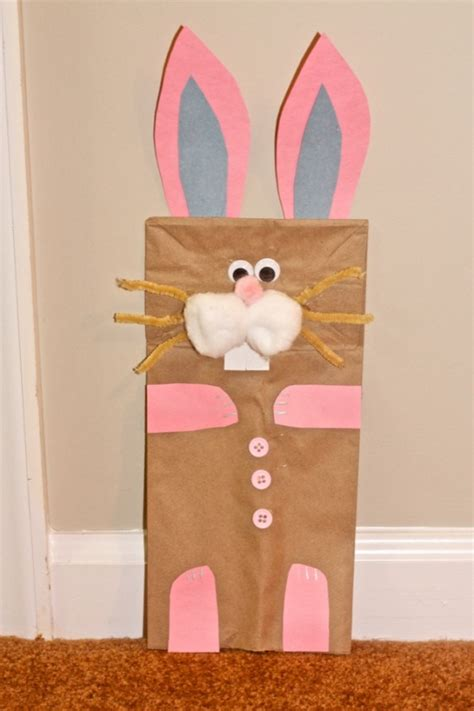 easter paper bag crafts an easter craft bunny puppet made out of a paper bag