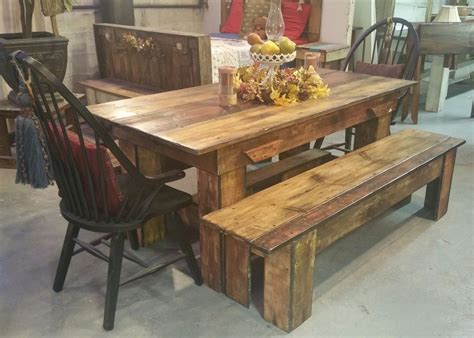 rectangle brown wood dining table and bench completed by