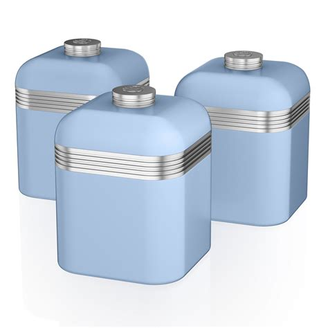 storage canisters kitchen swan set of 3 tea coffee sugar blue canisters jar kitchen storage containers tin ebay
