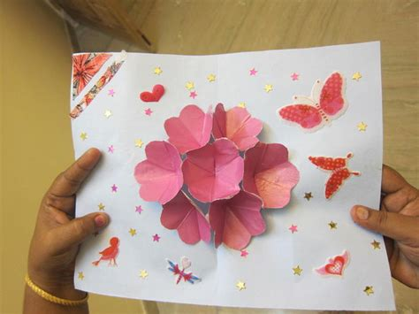 how to make pop up flowers card in paper pop up flower card