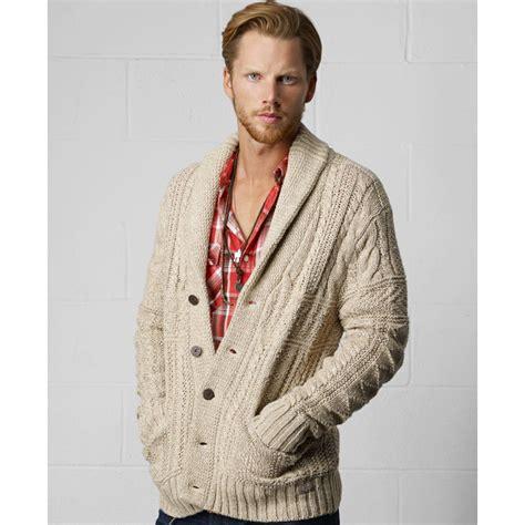 mens knit cardigan denim supply ralph shawl collar cable knit