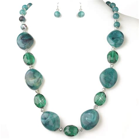 fashion jewelry teal green and faceted beaded fashion jewelry set