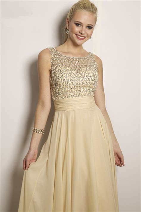 prom dress with gold beading flowing a line bateau neck v back light gold chiffon