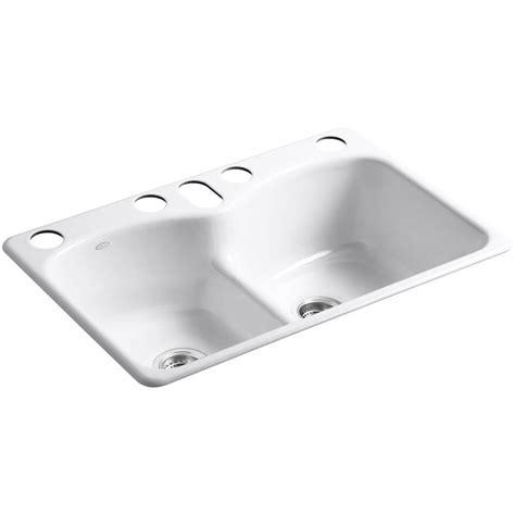 white bowl kitchen sink kohler langlade smart divide undermount cast iron 33 in 6