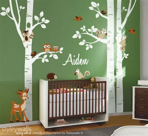 forest nursery wall decals birch trees wall decal nursery wall decal forest trees