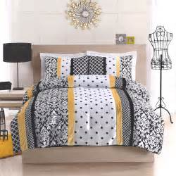 yellow and black comforter sets black yellow and white polka dot damask striped bedding