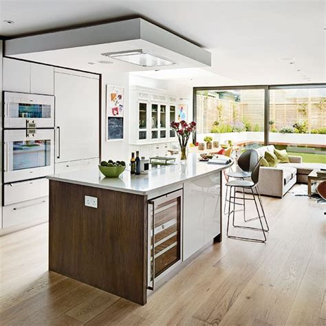 open plan kitchen design ideas white and wood open plan kitchen open plan kitchen