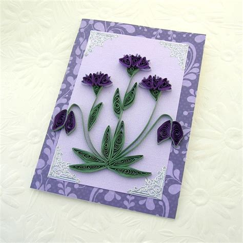 paper greeting cards paper quilling greeting card paper quilled purple and