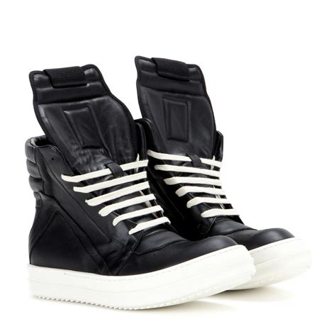 leather high top shoes for rick owens geobasket leather high top sneakers in black lyst