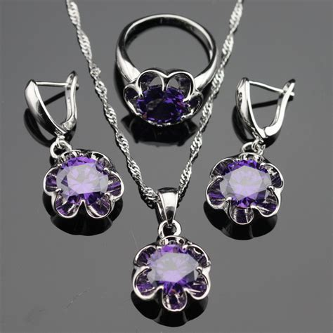 free jewelry flower purple amethyst 925 silver jewelry sets for