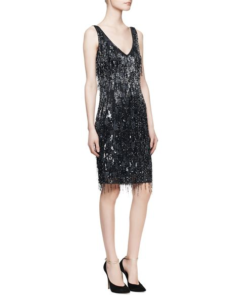 navy beaded dress theia sleeveless beaded fringe cocktail dress in blue