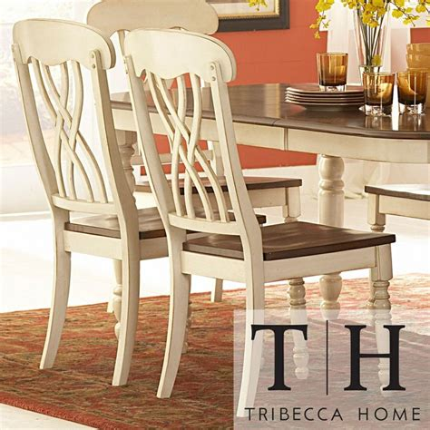 tribecca home dining chairs tribecca home mackenzie country antique white side chair