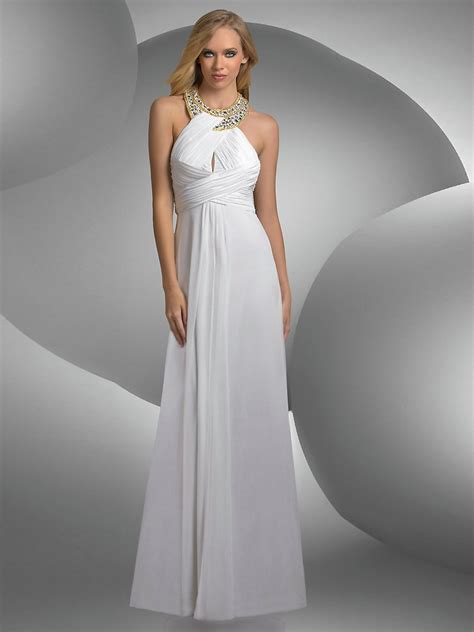 beaded neck dress splendid beaded neck empire floor length white