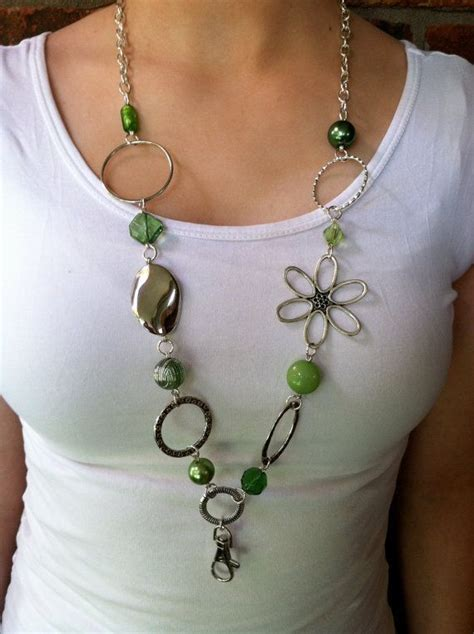 how to make a beaded lanyard necklace green and silver lanyard necklace