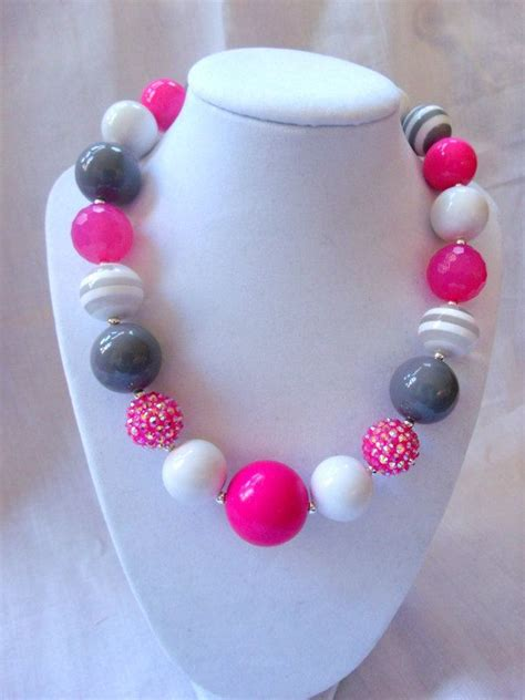 bubblegum chunky chunky bead necklace bubblegum necklace