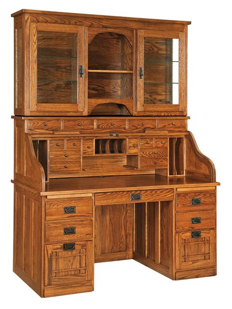 roll top desk with hutch amish mission roll top desk with optional hutch