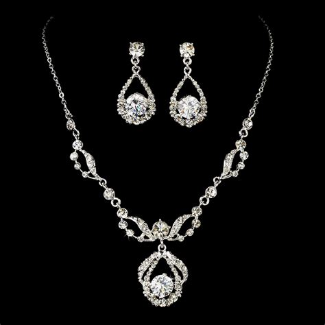 jewelry set diamante bridal jewelry set silver rhinestone