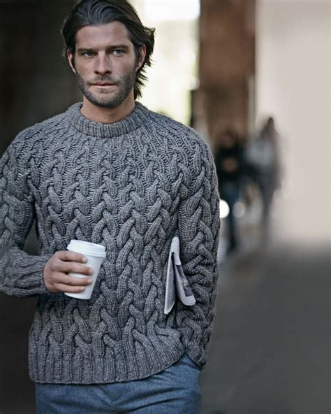 mens knitted sweater wool cable knit chunky sweater from michael kors