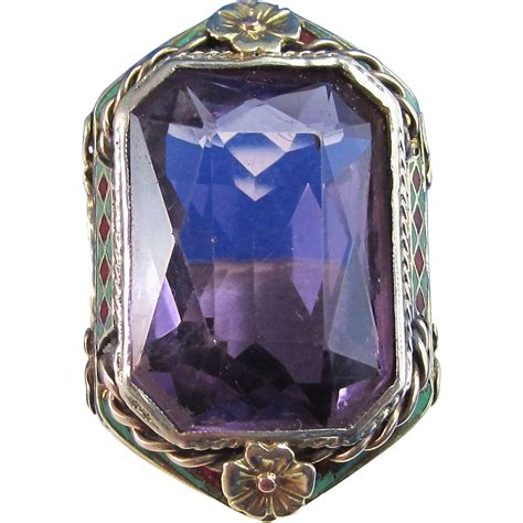 deco 1920 s estate 14 60 carat amethyst birthstone engagement ring from mayfairjewel on ruby