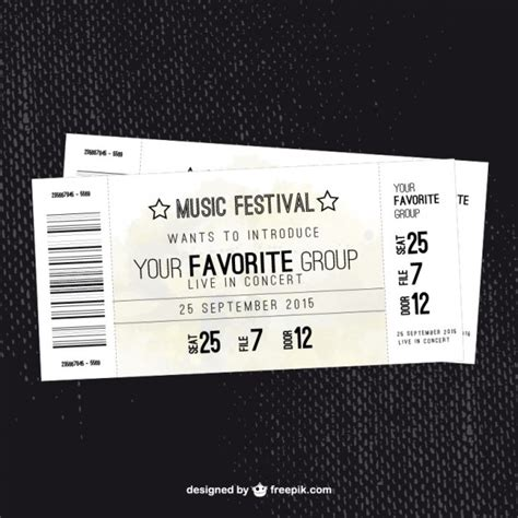 music festival ticket vector free download