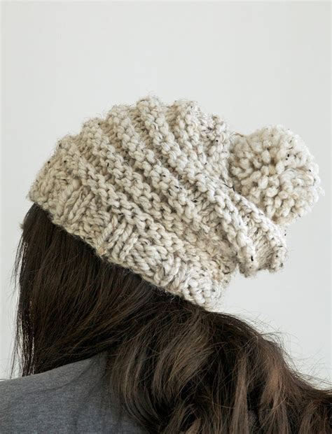 pom pom knit hat knit slouchy beanie pom pom hat in by pikapikacreative