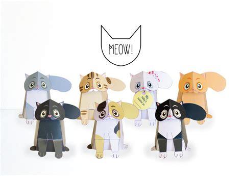 cat paper craft cats printable diy paper craft kit 3d cat