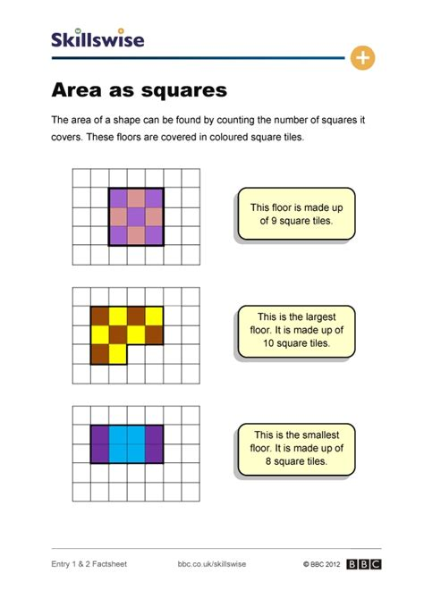 the area area as squares