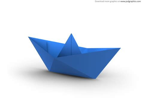 3d origami boat white and blue paper boats psdgraphics