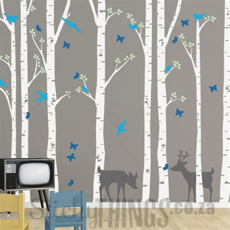 forest nursery wall decals birch forest nursery wall decals stickythings wall