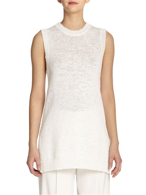 Theory Meenaly Sleeveless Knit Tunic In White Lyst