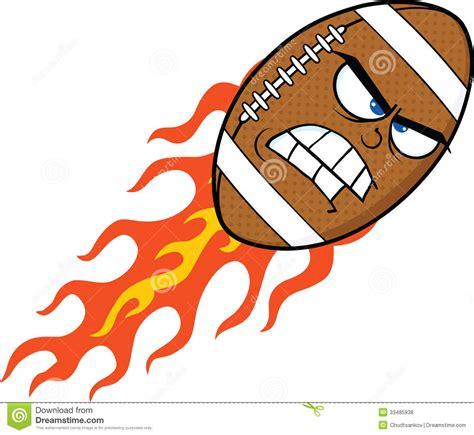 angry flaming american football ball cartoon character