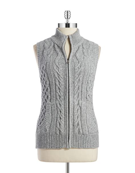 knit sweater vest jones new york cable knit sweater vest in gray lyst