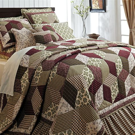 quilt comforter sets king burgundy green country paisley block cal king